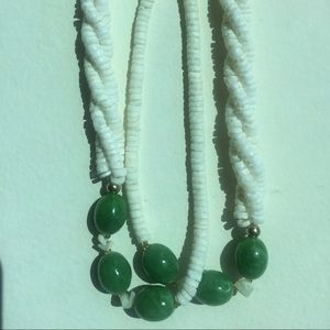 Vintage Puka Shell Necklace (White w/Green)
